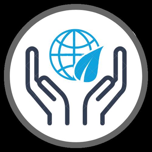Duas mãos com um globo sustentável flutuando no meio
